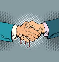 Bloody handshake underhanded business transaction vector