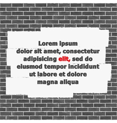 Brick Wall with Place for Text vector image