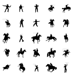 Cowboy silhouettes set vector image vector image