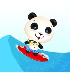 Little cute surfing panda on blue wave vector