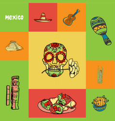 mexico squared doodle concept vector image