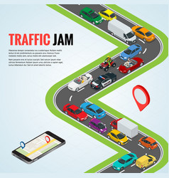 traffic jam and road way location mobile gps vector image