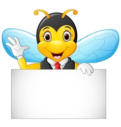 cartoon bee hold blank sign vector image