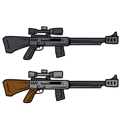 cartoon sniper rifles weapon icons vector image
