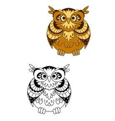 Retro stylized brown owl bird mascot vector image vector image