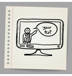 Successful businessman with bubble in monitor vector
