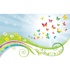 The Green Meadow with Flowers and Butterflies vector image vector image