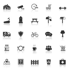 village icons with reflect on white background vector image vector image