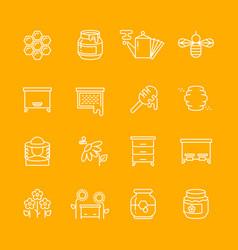 honey apiary thin line icons set vector image