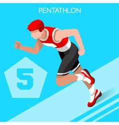 Pentathlon 2016 Summer Games 3D Isometric vector image vector image