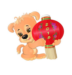 puppy with chinese lantern vector image vector image