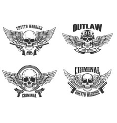 set of winged skulls with weapon design elements vector image vector image
