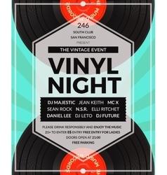 vintage vinyl LP DJ party poster vector image vector image