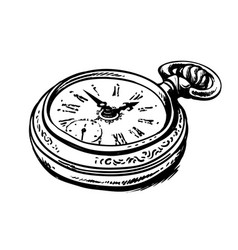 Ancient pocket watch vector