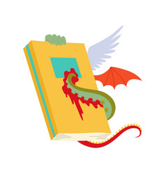 Antique book with dragon wings and octopus vector