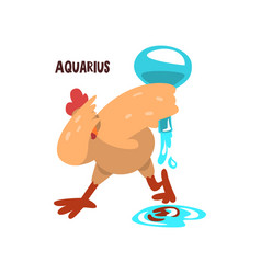Aquarius zodiac sign funny chick character vector