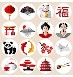 Asia icons set vector