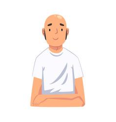 Bald man sitting and looking at us cartoon vector