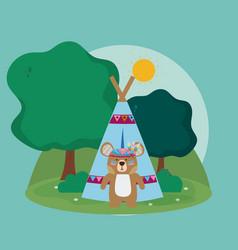 bear cute hippie cartoon vector image