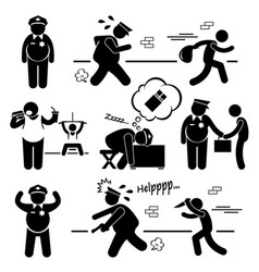 big fat lazy police cop stick figure pictogram vector image