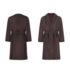 black bathrobe mockup set isolated vector image
