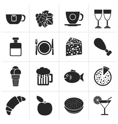 Black Food Drink and beverage icons vector