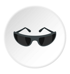 Black sunglasses icon circle vector