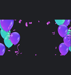 Blue balloons party flying purple realistic vector