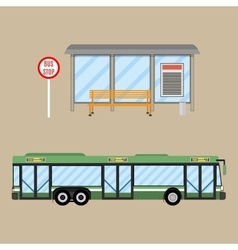 bus stop set vector image