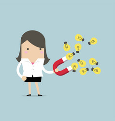 businesswoman attracted idea bulbs with red magnet vector image