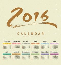 Calendar 2016 text paint brush vector