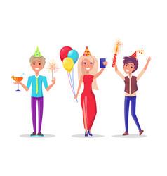 Cartoon characters man woman celebrate birthday vector