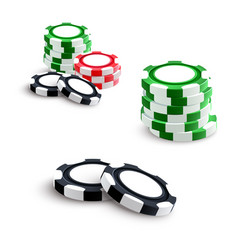 Casino and poker gambling chips vector