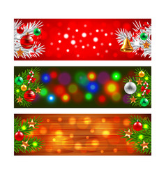 Christmas banners with decorated fir-tree branches vector image