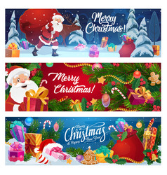 christmas santa gifts and pine tree vector image
