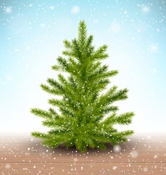 Christmas Tree in Snow on Wooden Floor on Blue vector
