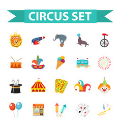 circus icon set flat cartoon style set isolated vector image
