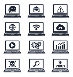 collection of laptop icons with signs and symbols vector image