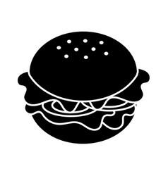 Contour fast food hamburger meal vector