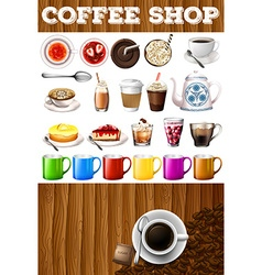 Different kind of drinks and desserts in coffee vector image