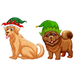 Dogs wearing jester hat vector