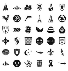 Emblem icons set simple style vector
