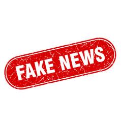 Fake news sign fake news grunge red stamp label vector