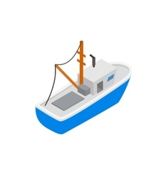 Fishing boat isometric 3d icon vector image