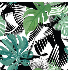 Floral seamless pattern tropical leaves over vector
