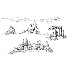 Fragments of rural scene with hills and trees vector