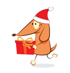 funny dog carrying a christmas present vector image