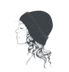 girl in a hat vector image