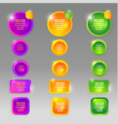 glass round buttons with colorful labels template vector image