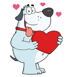 Gray Fat Dog Holding Up A Red Heart vector image